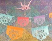 LAS FLORES mini papel picado garland - sets of 2 - Ready Made