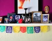Dia de Los Muertos Papel Picado Garland - Day of the Dead decor - MUERTITOS - Ready Made