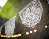 Papel Picado Banners - LAS FLORES - custom color wedding garlands