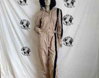 d92542fa8b3 Womens Jumpsuit LX30 Hermans Eco tan hoody black sewn on striped made in  USA romper
