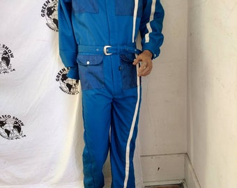 b9d1e09be2c6 Mens Jumpsuit Romper Hermans Eco M x 30 blue sewn on stripe cotton made in  USA