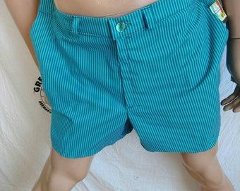 118e1bc23b7 Mens shorts Anna Herman seersucker green blue striped 38 X 5 made in USA 4  pockets