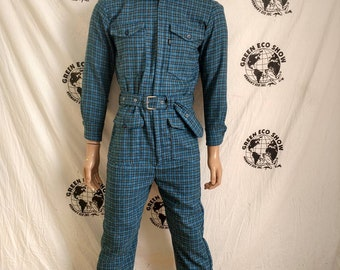 b3732bec3050 Mens Jumpsuit Romper M X 32 Wool Plaid Hermans hipster pants zip up made in  USA