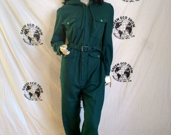 b9a5a1d496b Womens Jumpsuit hoody LX30 Anna Herman green wool made in USA skiing  outdoor sports