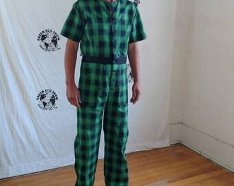 29e52c42965 Romper Mens hipster Sz M -L Hermans plaid black green denim USA jumpsuit