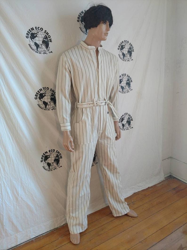 7d434e3be59 Men s Jumpsuit romper Anna Herman made in USA tan stripes