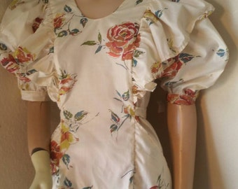 Rockabilly dress Med Hermans USA ruffled vtg cotton short sleeve