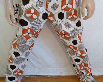 mens pants  Herman's Eco 36 X32 white brown orange jeans