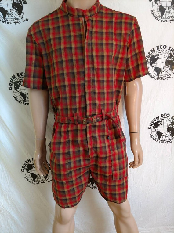 b6497eedbd1 Rompers Mens XL Hermans Eco USA Cotton Plaid hipster