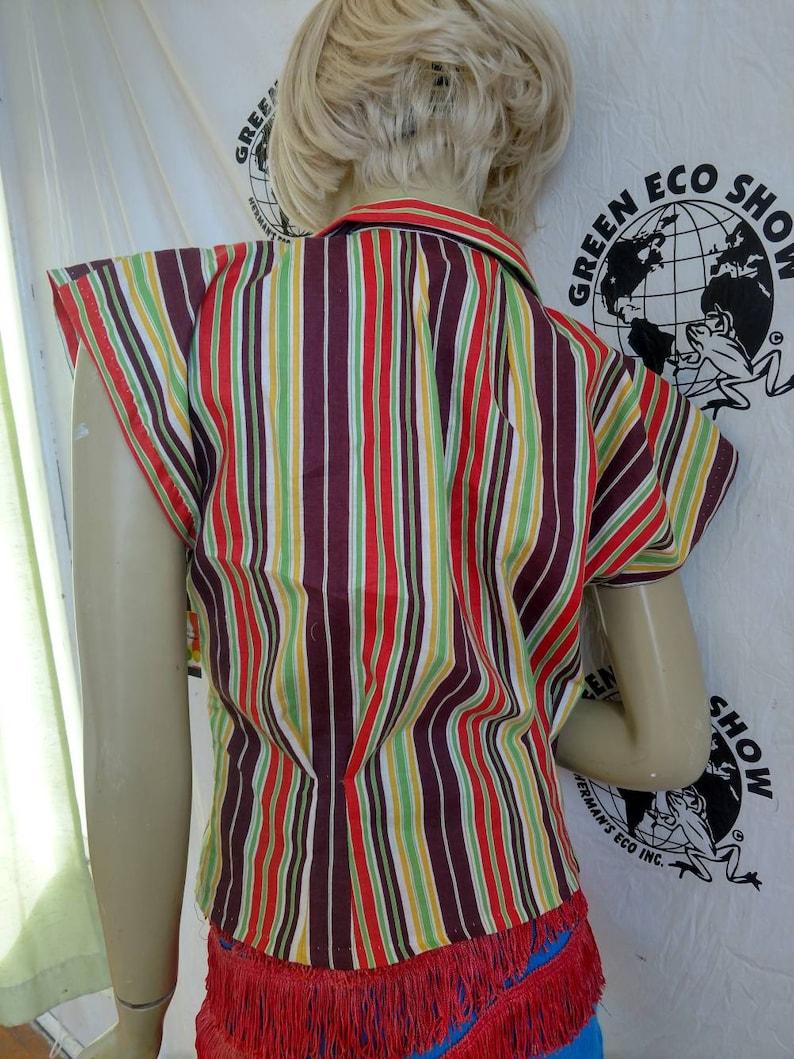 Hermans blouse Med  vtg striped cotton made in USA