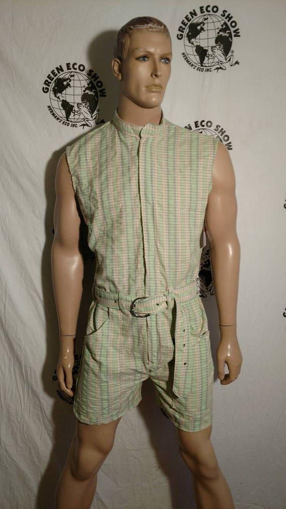 1c7cfce81b Mens Romper shorts 40 L by Anna Herman USA jumpsuit plaid