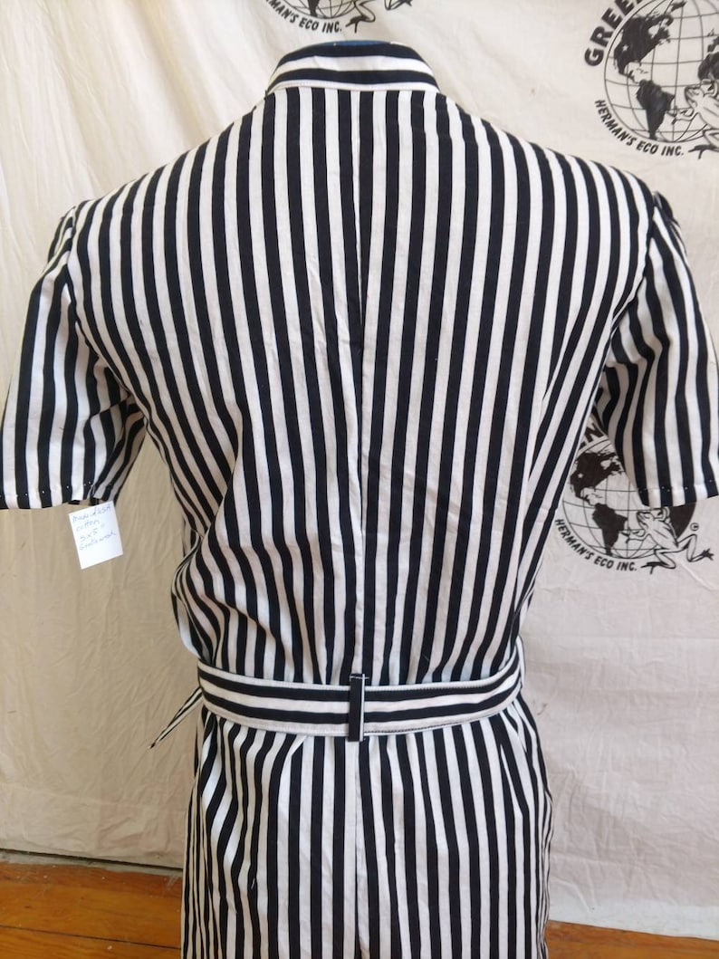 Mens Romper S  Striped  by Anna Herman jumpsuit made in USA  with flag patch
