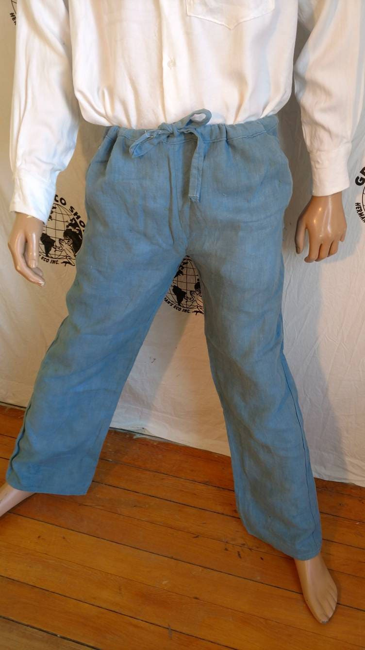 Hermans Eco US Grown Organic Cotton hand dyed Pants Jeans 36 X 32 Blue rM5mPUuu