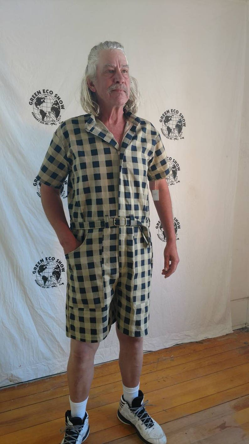 dc6d08015e Mens Romper shorts 42 XL to L by Anna Herman USA jumpsuit tan black check  plaid hipster