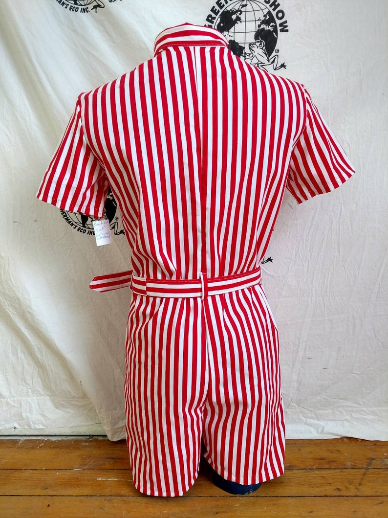 Mens Romper S  Striped  red white by Anna Herman jumpsuit made in USA  with flag patch