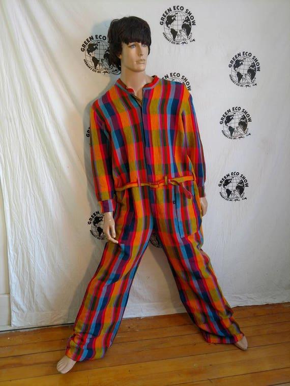 8f66e7e6163 Mens Romper pants XXLarge x 34 Hermans Eco USA Cotton Plaid