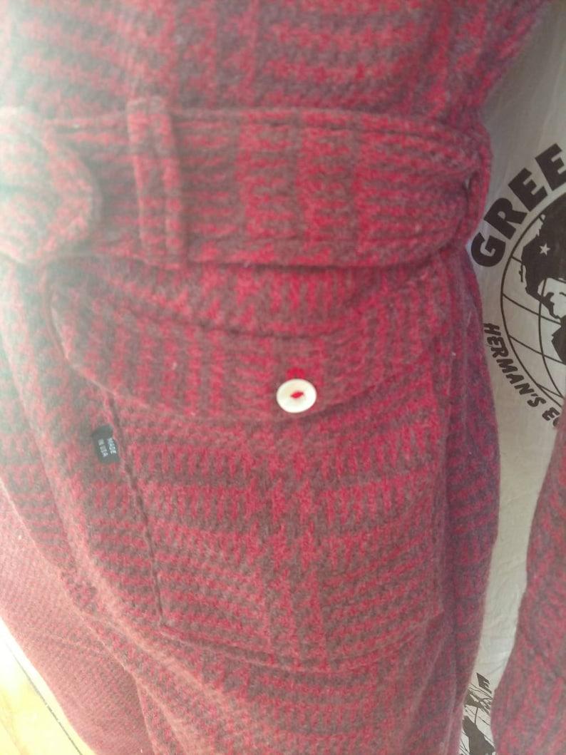 Jumpsuit Mens Romper pants L X 32 by Herman ECO Plaid herringbone wool hipster long sleeve made in USA