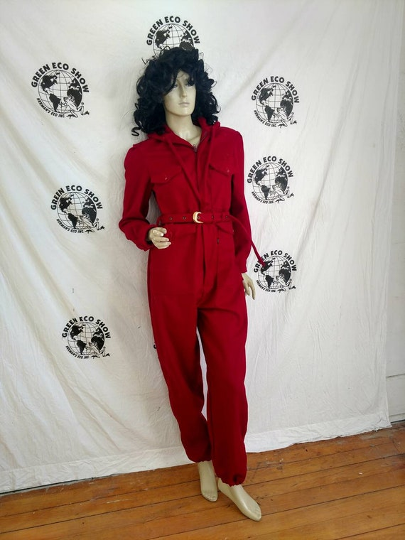 f3ff5629862 Womens Jumpsuit hoody LX30 Anna Herman red wool made in USA