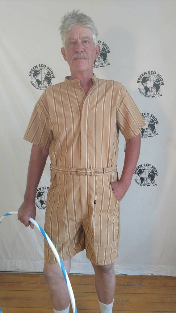059106ff998 Mens Romper shorts L striped vtg awning cotton hipster Anna