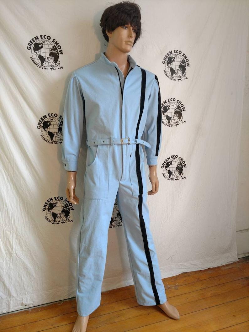 29ab11f6b4a Jumpsuit Mens Romper pants M L X 32 by Herman ECO light blue