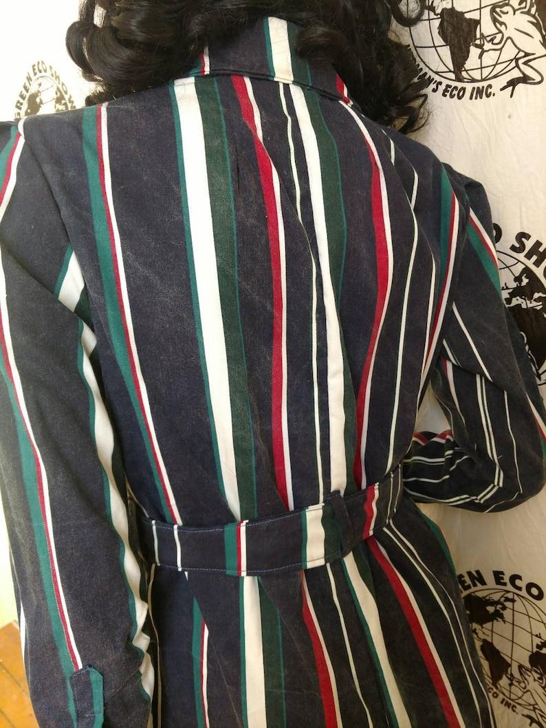bb3effa3943 Womens Jumpsuit M X29 Anna Herman cotton striped made in USA stripe black  green white