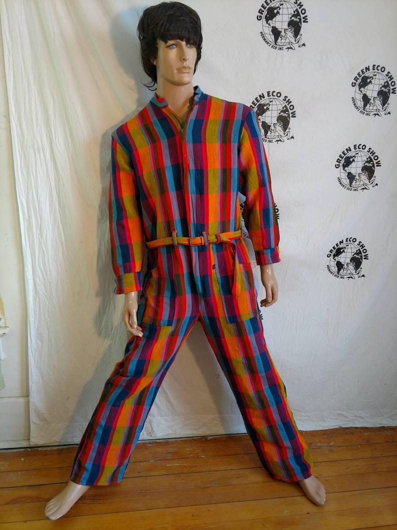 b48de7fc7f9 Mens Romper pants XLarge Hermans Eco USA Cotton Plaid hipster