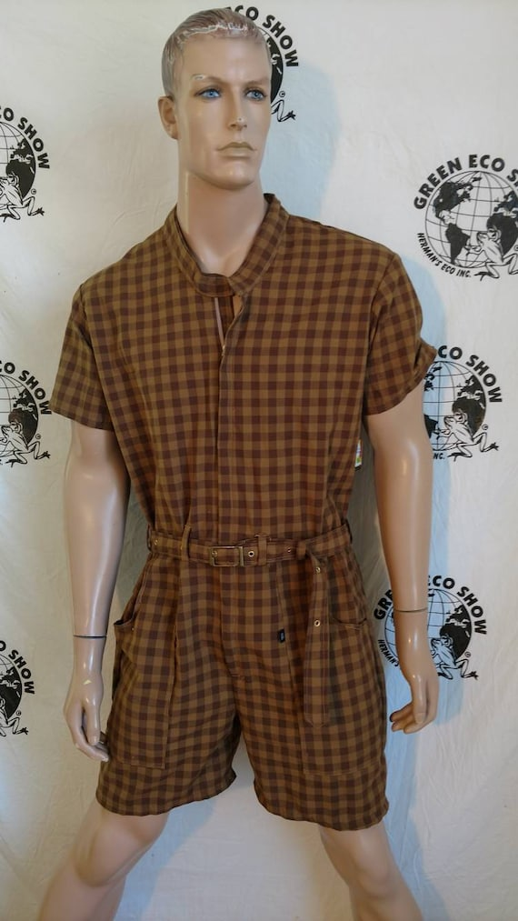 36ae18db3d Mens Rompers shorts L check plaid Anna Herman USA jumpsuit