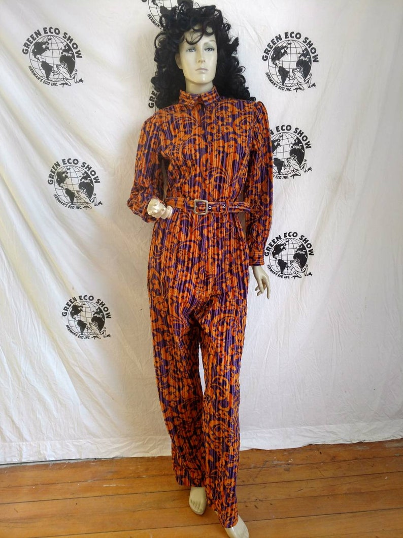 2c3c1999564 Womens Jumpsuit LX30 Anna Herman purple orange striped velvet