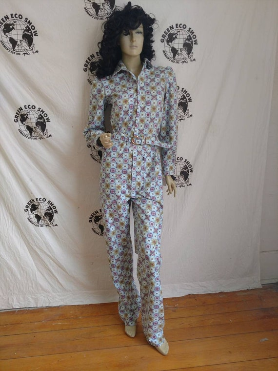 0961b1d19e1 Womens Jumpsuit S X 33 Anna Herman cotton vtg print made in