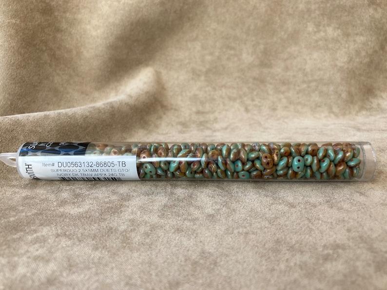 Green Turquoise Ivory Dark Travertine by Matubo DU0563132-86805 SuperDuo Duet