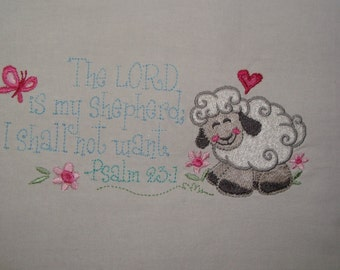 23rd Psalm scripture flour sack towel, kitchen towel, The LORD is my shepherd, embroidery, dish towel