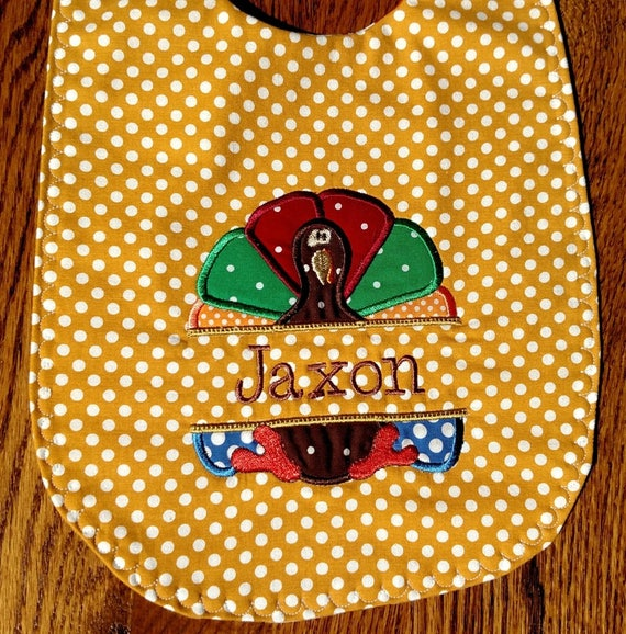 Thanksgiving Turkey Yellow Bib Embroidered Baby Bib