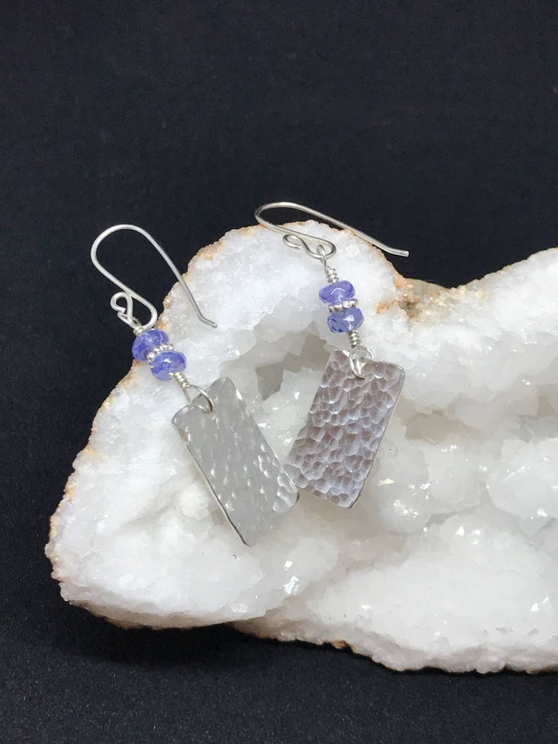 Precious Metal Clay Hammered Rectangles with Faceted Tanzanite image 0