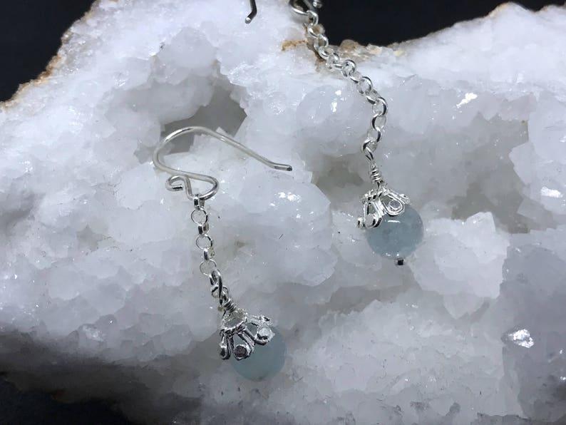 Sterling Silver Aquamarine Chain Dangles image 0
