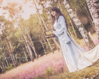 Embroidered elven dress with train, elvish gown three part