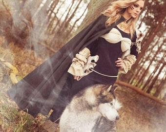 Medieval Cape with hood, hooded medieval cape, renaissance cape, bridal cape, bridal cloak, Halloween, viking cape, celtic cape, onesize
