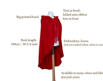 Red hiding hood cape, fairy tale cape, wedding cape, red cape with hood, princess cape, made to order, Halloween costume, once upon a time