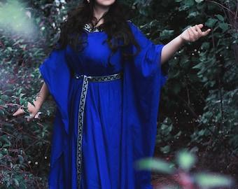 boho wedding gown, elven clothing, pagan wedding dress, viking dress, witch gown, alternative wedding handfasting celtic wicca