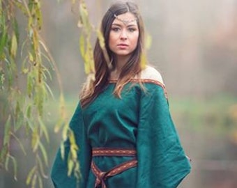 Medieval dress Ceres, viking wedding gown, celtic pagan handfasting dress, fairy dress for women, festival clothes, wiccan robe priestess