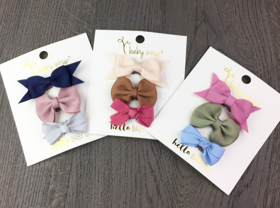 1 Set Infant Boutique Hair Bow Mixed Design Newborn Baby Girl Hair Clips Shower