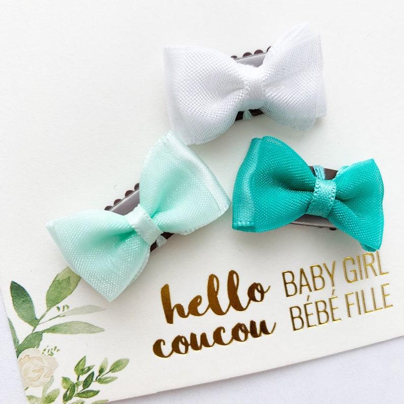 Baby Girl Toddler Newborn Non Slip Hair Clips Bow 3cm Snap Clips Set of 4