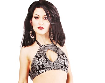 Keyhole Top,  A, B or C, Black and Silver, Contortion, Bellydance, Dance, Costume, Halter, Tribal, Bra, Dark Fusion Boutique