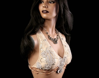Halter, B Cup, Cream, Gold and Silver, Bellydance, Costume, Tribal, Fusion, Sequins, Vintage, Indian, Boutique, Bra