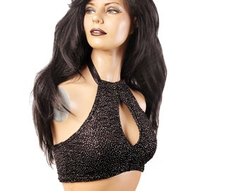 Keyhole Top,  A, B or C, Black and Silver Glitter Sparkle, Contortion, Bellydance, Dance, Costume, Halter, Tribal, Bra, Dark Fusion Boutique