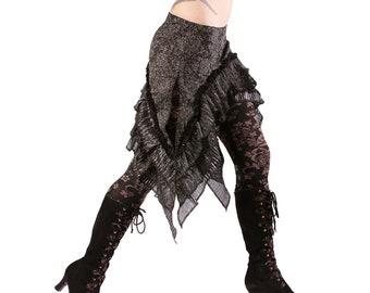 Over Skirt, LAST ONE,  Black, Silver, Ruffles, Cabaret, Vaudeville, Steampunk, Noir, Gothic, Vampire, BellyDance, Dark Fusion Boutique