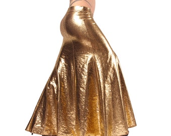 Skirt, YOUR SIZE, Gold , With or Without Slits,  Mermaid, Nouveau, Tribal, Fusion Bellydance, Cabaret, Cocktail