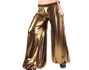 Pantaloons, YOUR SIZE, Liquid Gold, Hip Cut-Outs, Wide Leg Pants, Bloomers, Tribal, Bellydance, Cabaret, Dark Fusion Boutique