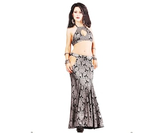 Skirt, YOUR SIZE, Silver and Black, Hip Cut-outs, With or without Slits,  Mermaid, Nouveau, Tribal, Fusion Bellydance, Cabaret, Cocktail