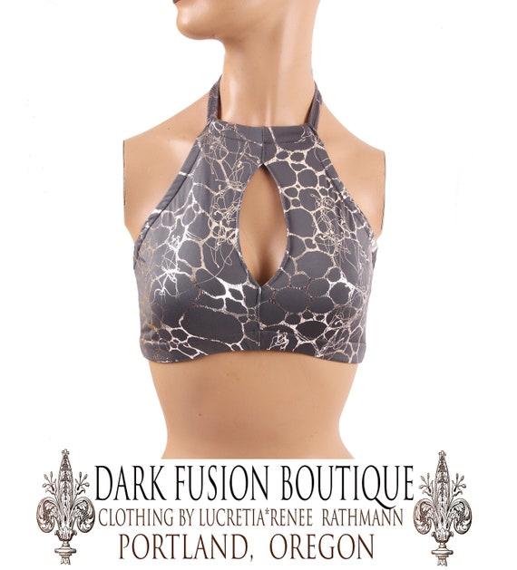 Dance Dark Fusion Boutique Keyhole Top B Tribal Bra Bellydance Costume Halter C or D Contortion A Silver /& GrayBlue
