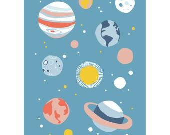 Planets postcard - Eco friendly